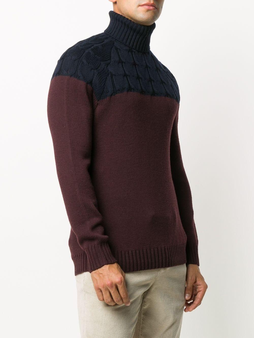 Maglione a collo alto bicolore in lana bordeaux e blu scuro ELEVENTY | Maglieria Moda | B71MAGB11-MAG0B03611-10