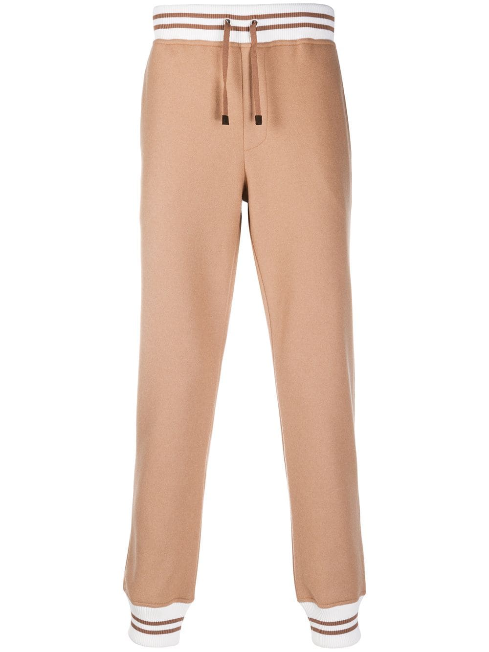 Camel brown and white wool-blend track trousers featuring knitted construction ELEVENTY |  | B71PANB02-TES0B19704