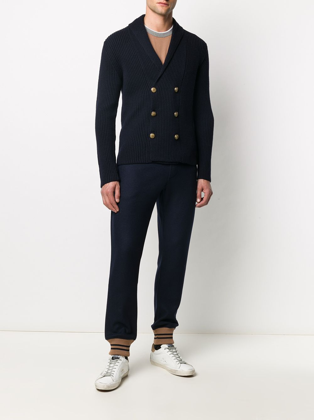 Dark blue wool-blend track trousers featuring knitted construction ELEVENTY      B71PANB02-TES0B19711