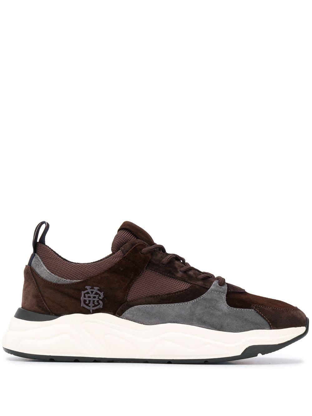 Sneaker basse in pelle marrone con punta tondae design a pannelli a blocchi di colore grigi ELEVENTY | Sneakers | B72SCNB10-SCA0B02605
