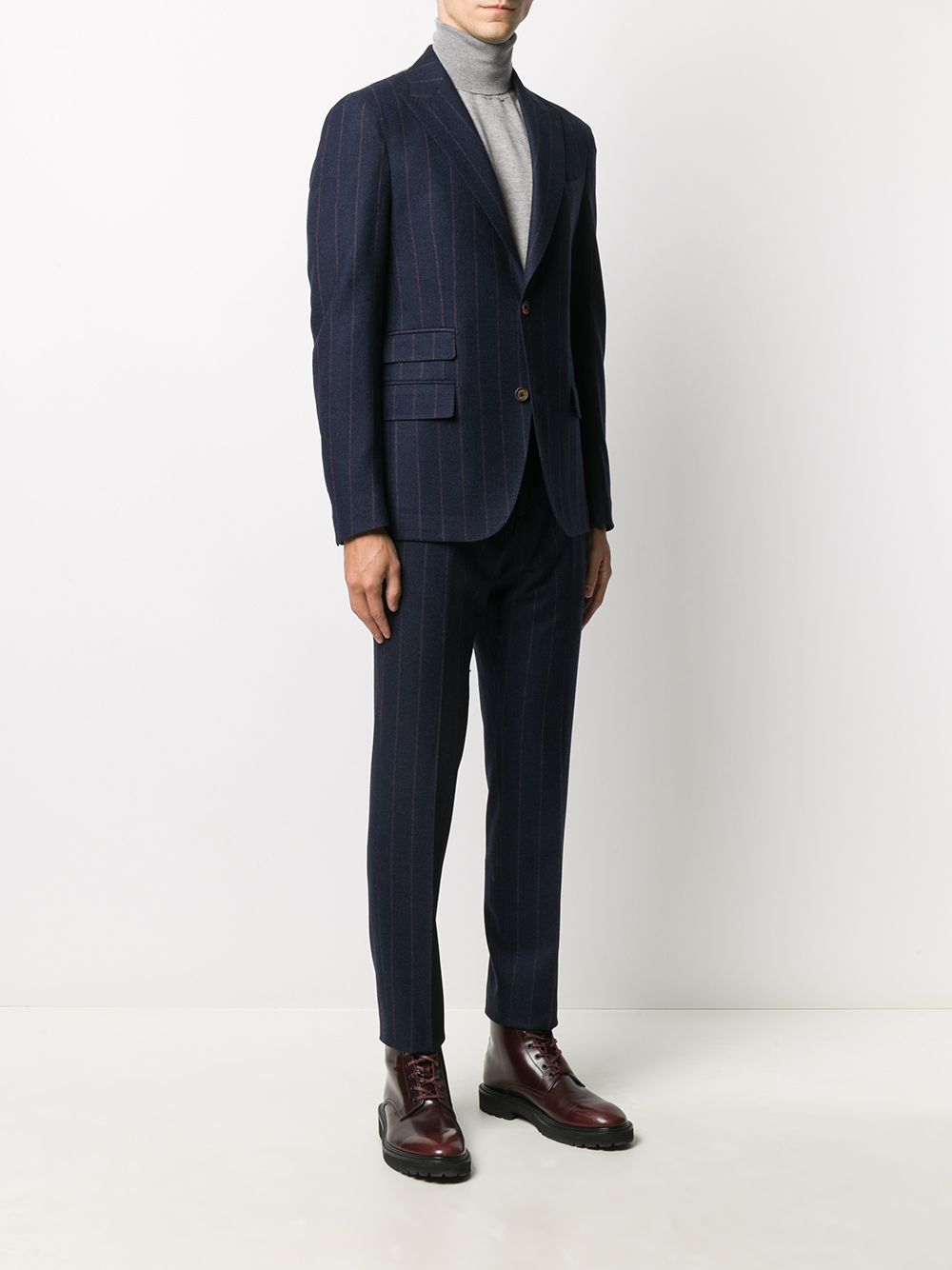 Blue and brown wool cashmere-blend woven pinstripe single-breasted suit  ELEVENTY |  | B75ABUA03-TES0B04511