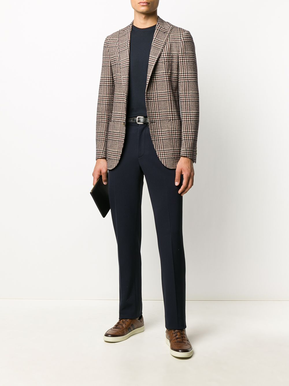 brown cotton check single breasted fitted blazer ELEVENTY      B75GIAB04-TES0B09510