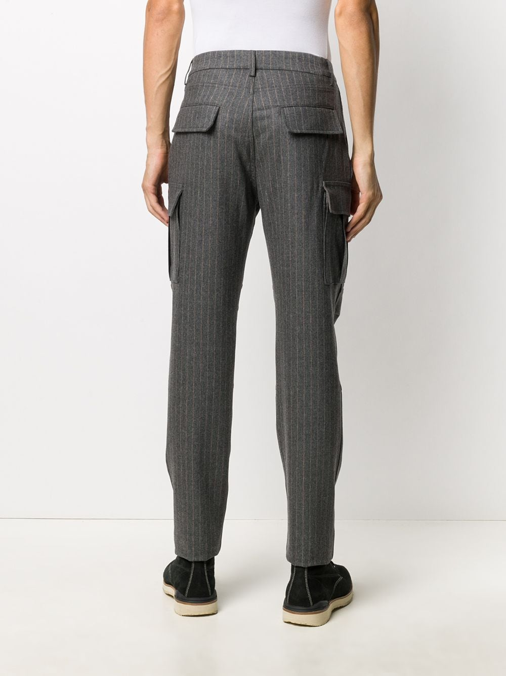 Pantaloni grigi in maglia a righe verticali in misto lana-cashmere ELEVENTY | Pantaloni | B75PANA15-TES0B03714
