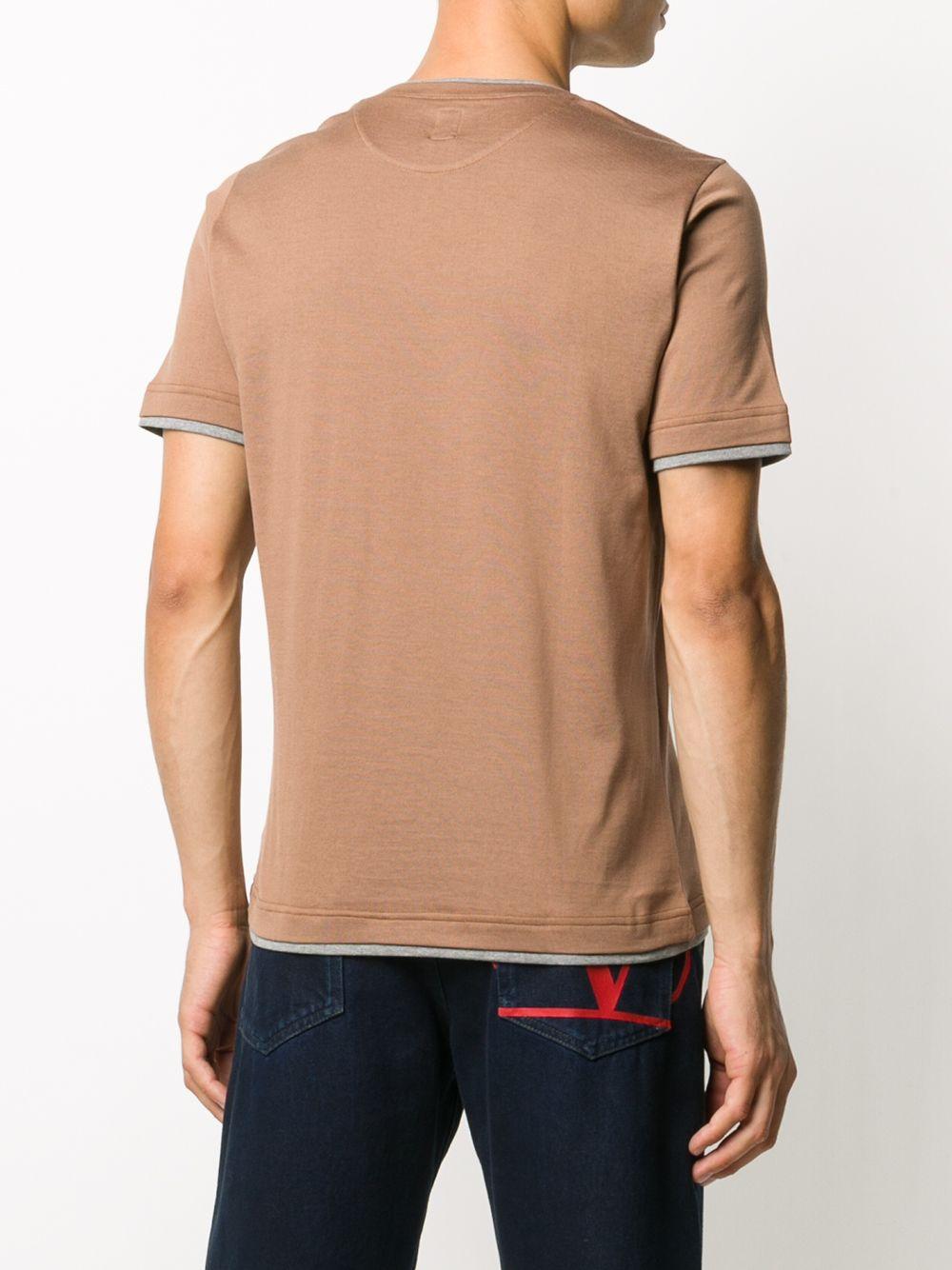 brown cotton t.shirt with grey embroidery ELEVENTY |  | B75TSHB07-TSH2600104