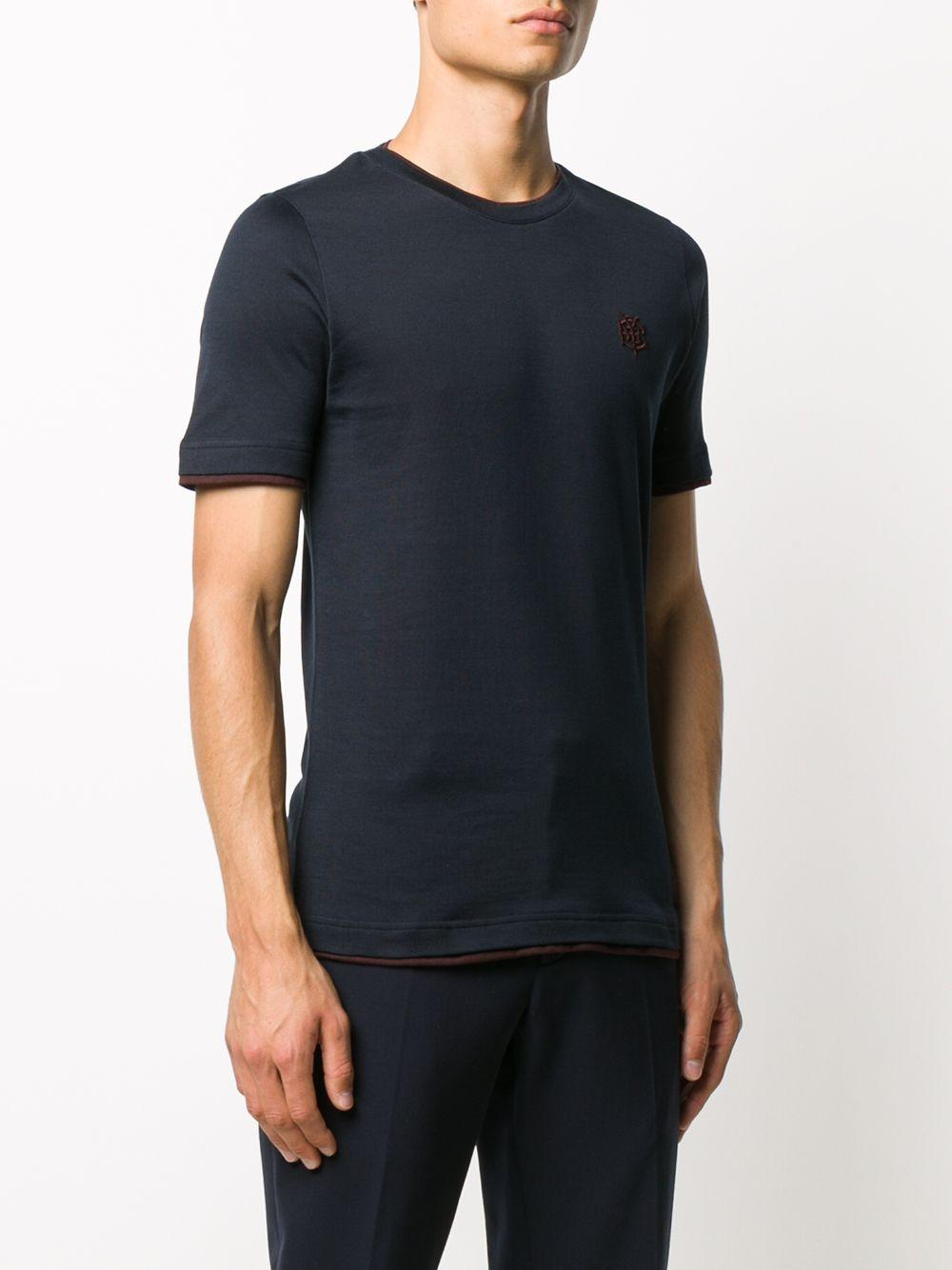 t.shirt in cotone navy con dettagli bordeaux all over ELEVENTY | Maglieria Moda | B75TSHB07-TSH2600111