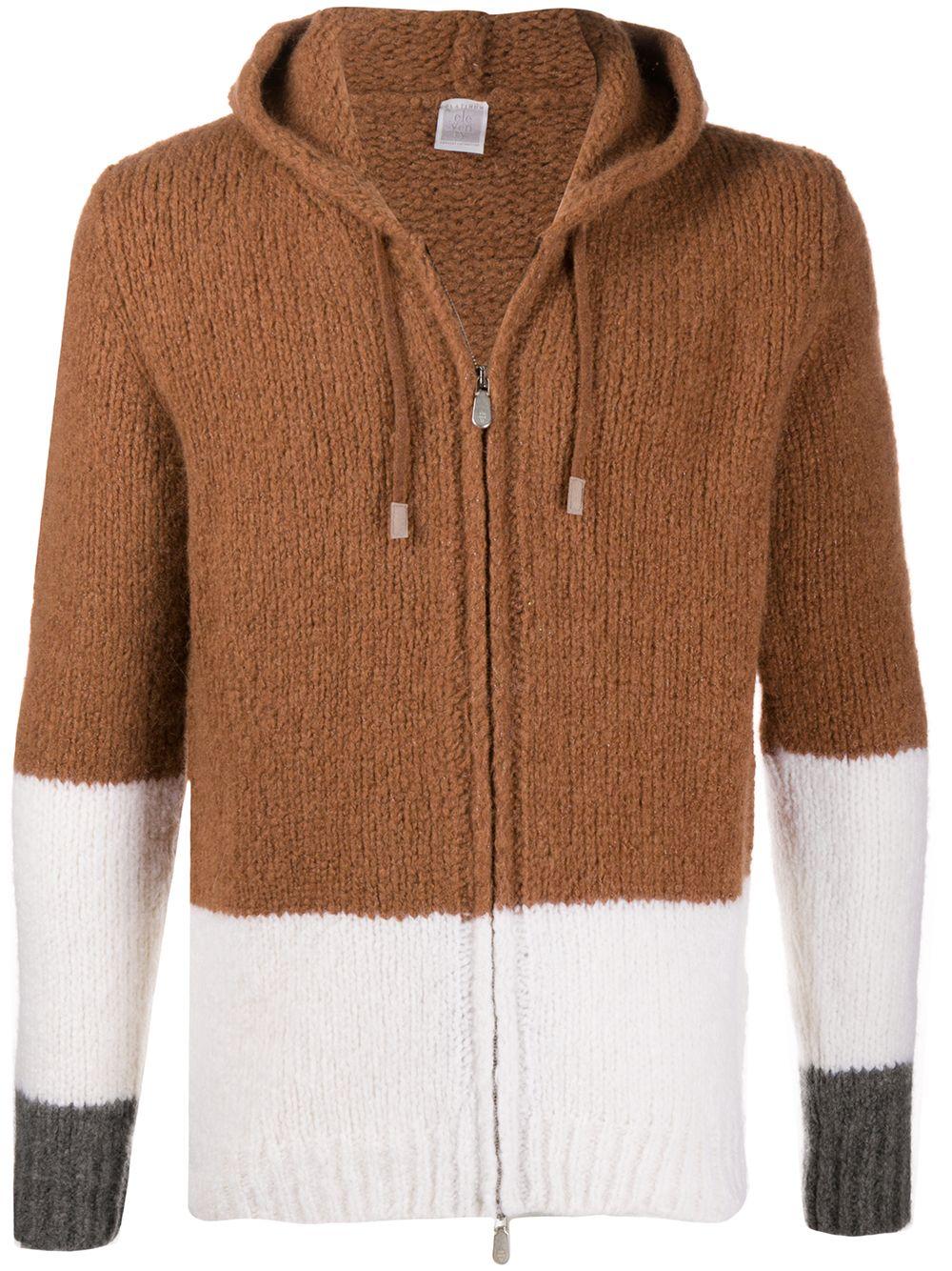 Maglione con zip a blocchi di colore in misto cashmere e alpaca-seta marrone bianco e grigio ELEVENTY | Cardigan | B76MAGAB20-MAG0B01504