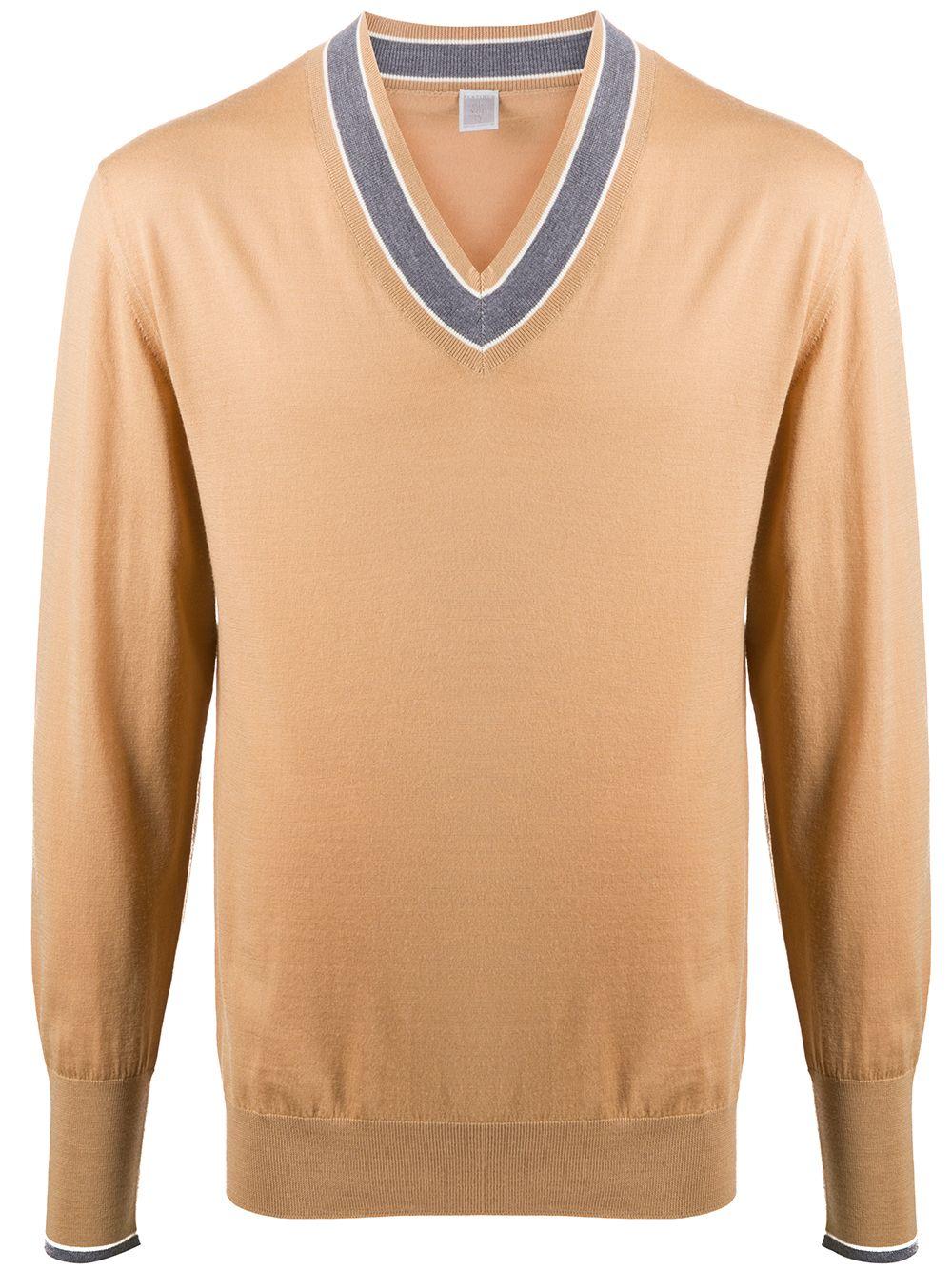 Maglione in maglia fine con scollo a V in lana marrone cammello e grigio ELEVENTY | Maglieria | B76MAGB04-MAG0B00104-06