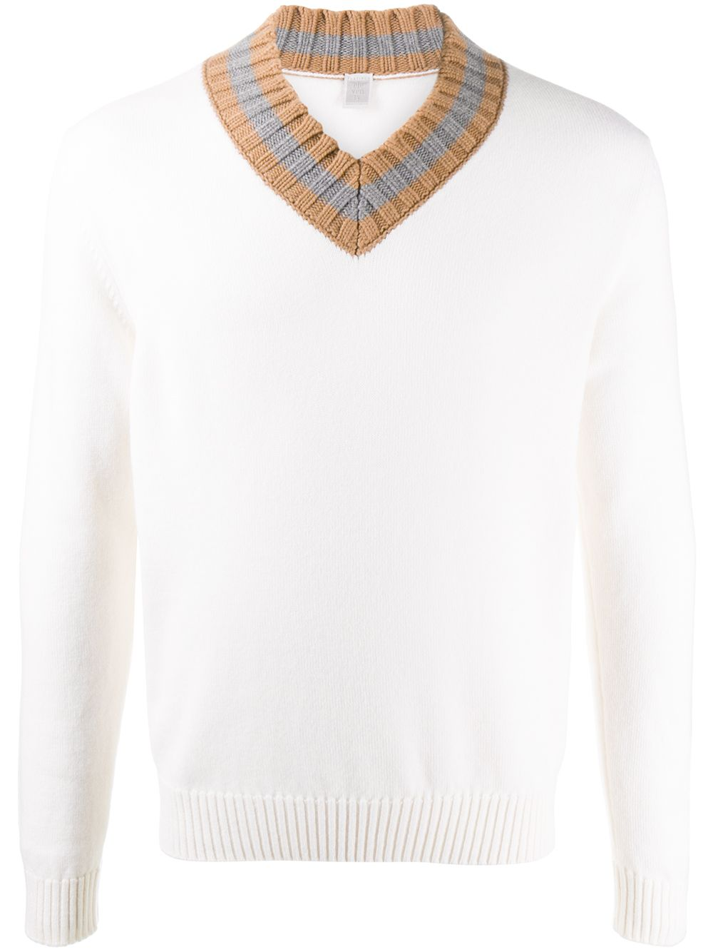 white wool V collar jumper with contrasting grey details ELEVENTY |  | B76MAGB12-MAG0B00401-14