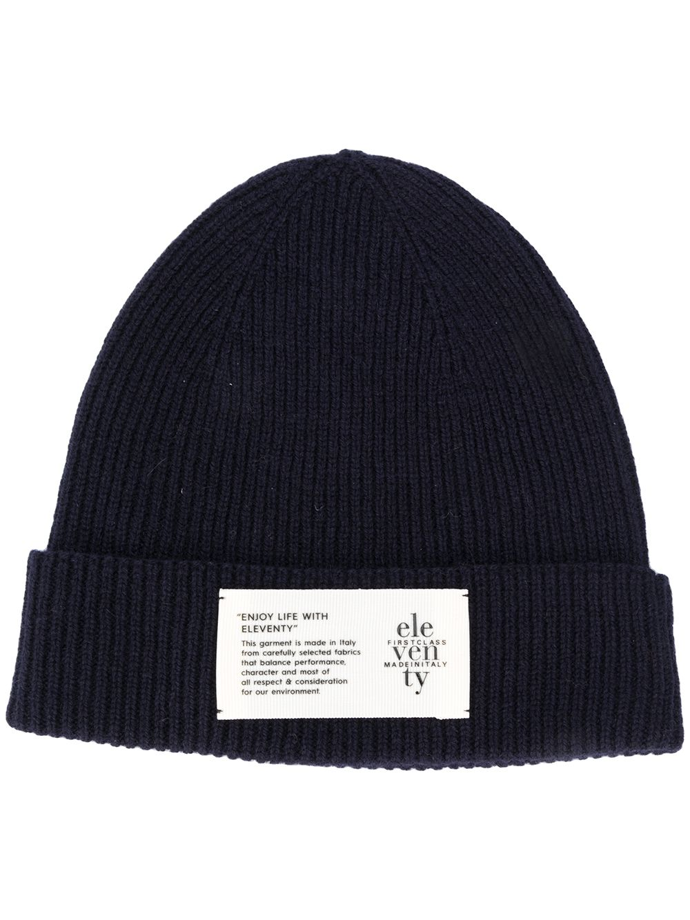 navy blue wool knitted beanie hat with front logo ELEVENTY |  | B77CLPB07-MAG0B05011