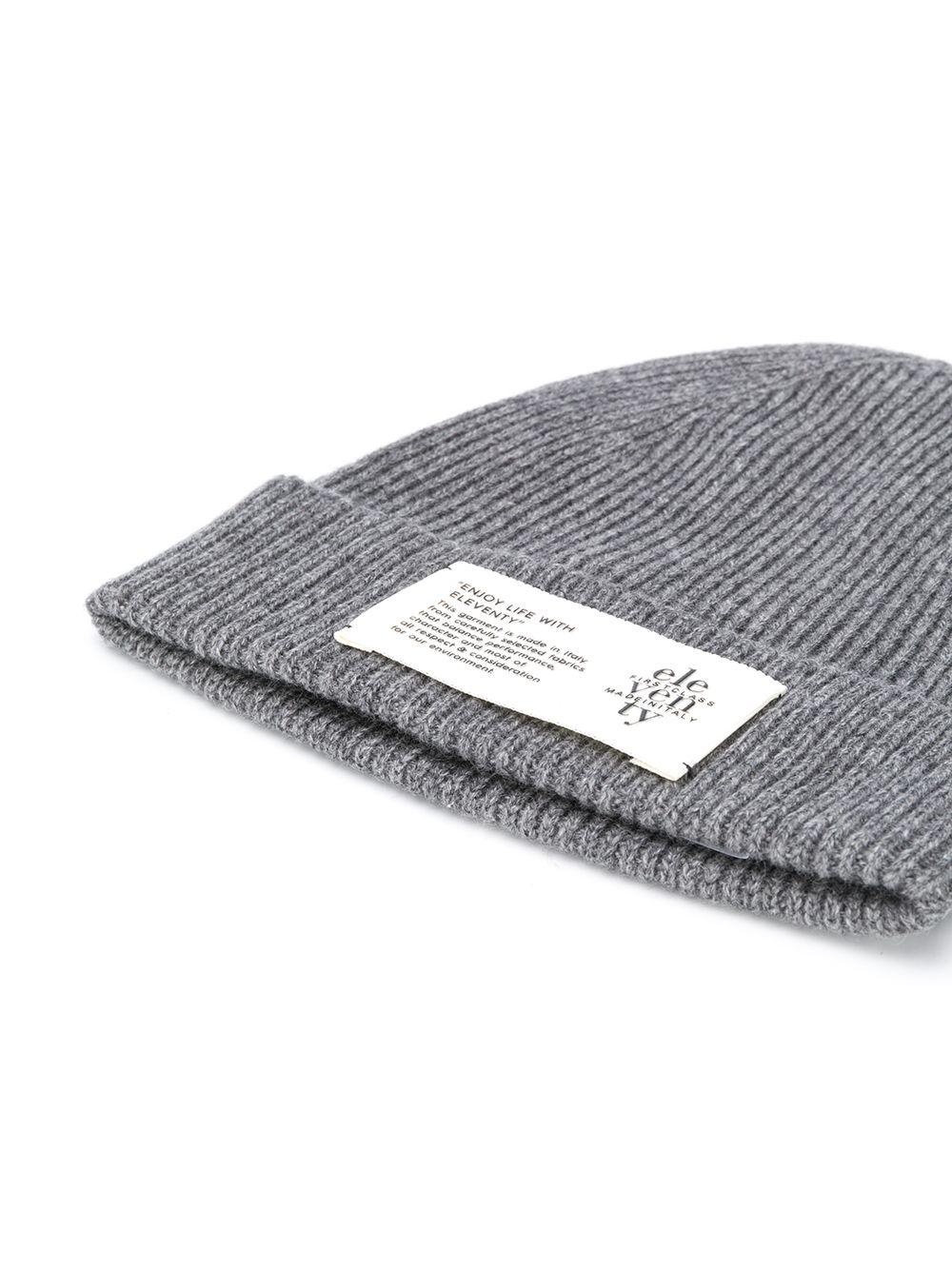 grey cachemere beanie hat with front Eleventy logo ELEVENTY |  | B77CLPB07-MAG0B05014