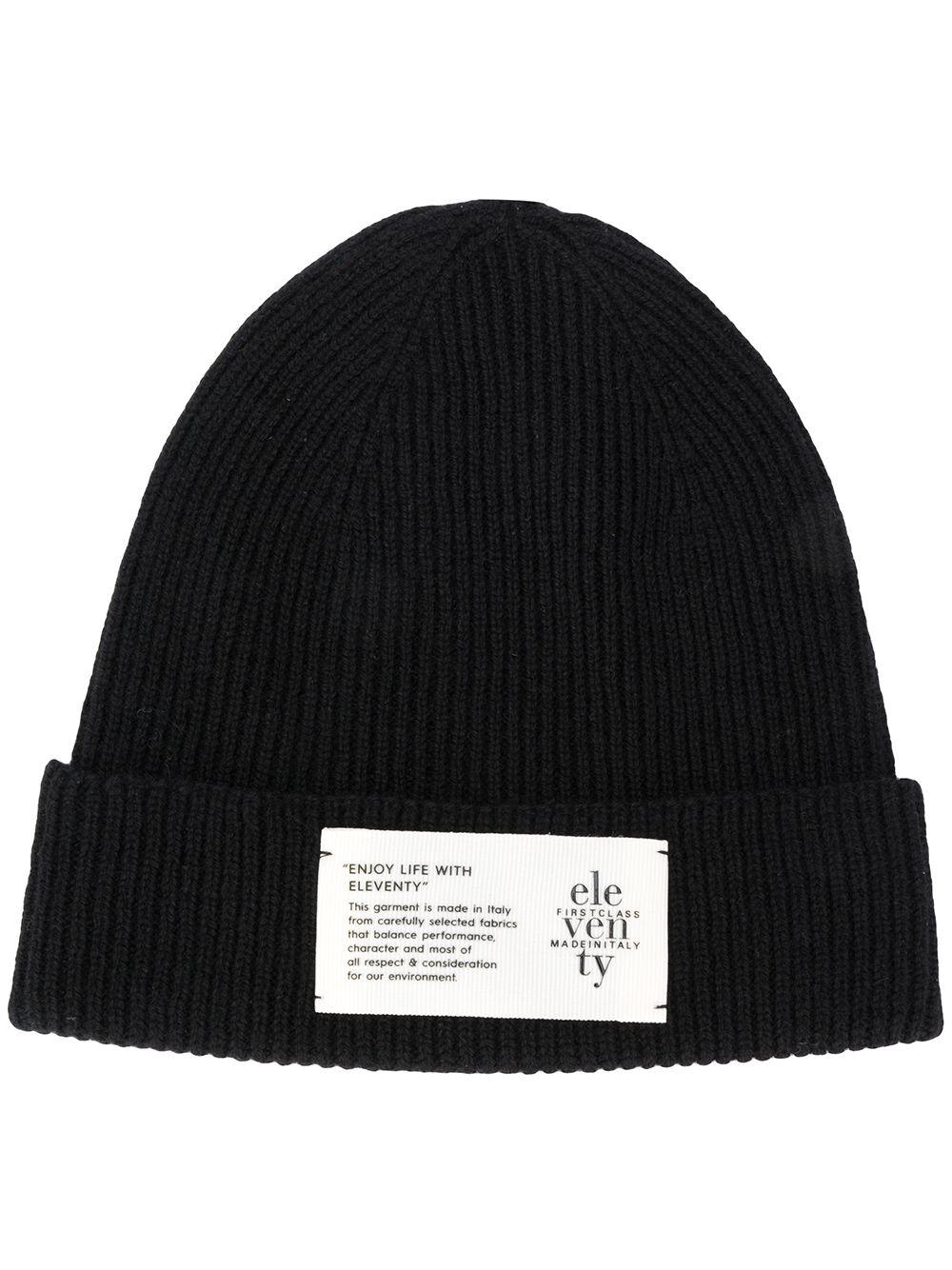 berretto in cachemere a costine nero con logo Eleventy ELEVENTY | Cappelli | B77CLPB07-MAG0B05022