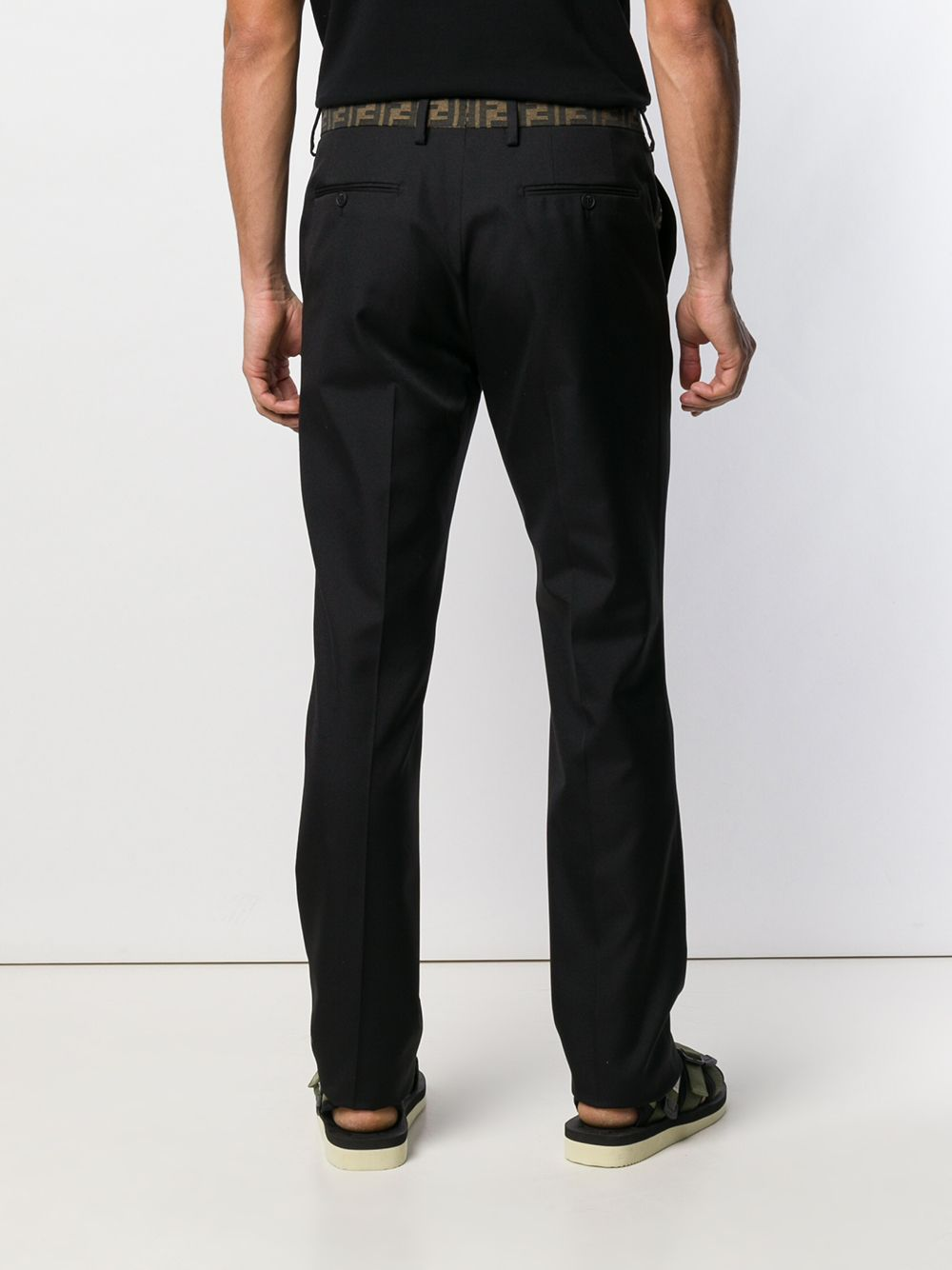 black cotton-blend Fendi logo trim trousers  FENDI |  | FB0366-A74QF0QA1