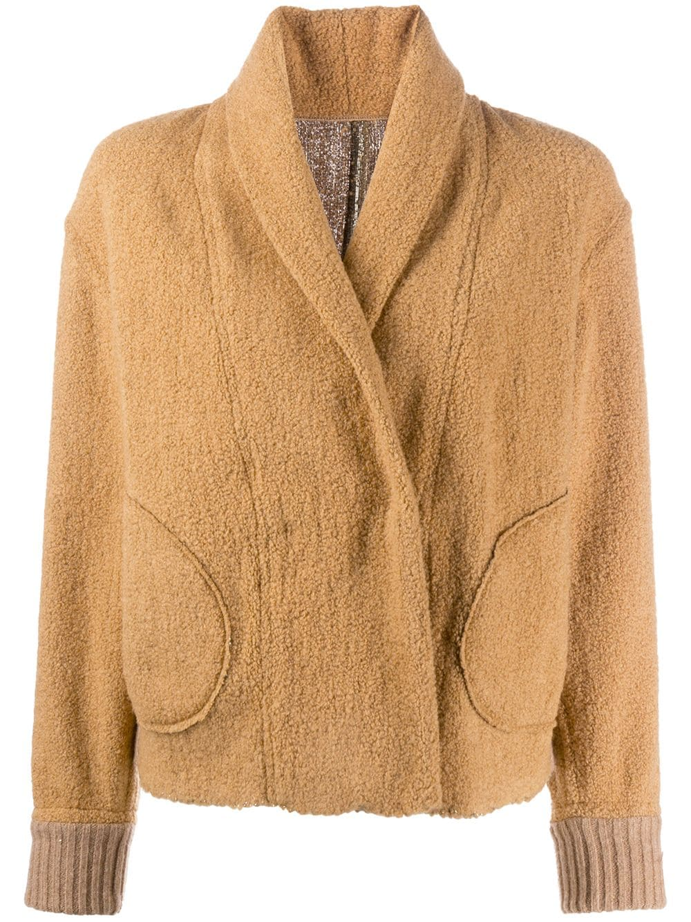 camel-coloured wool-blend reversible metallic-panel jacket featuring shawl lapels FORTE_FORTE |  | 7501CAMMELLO