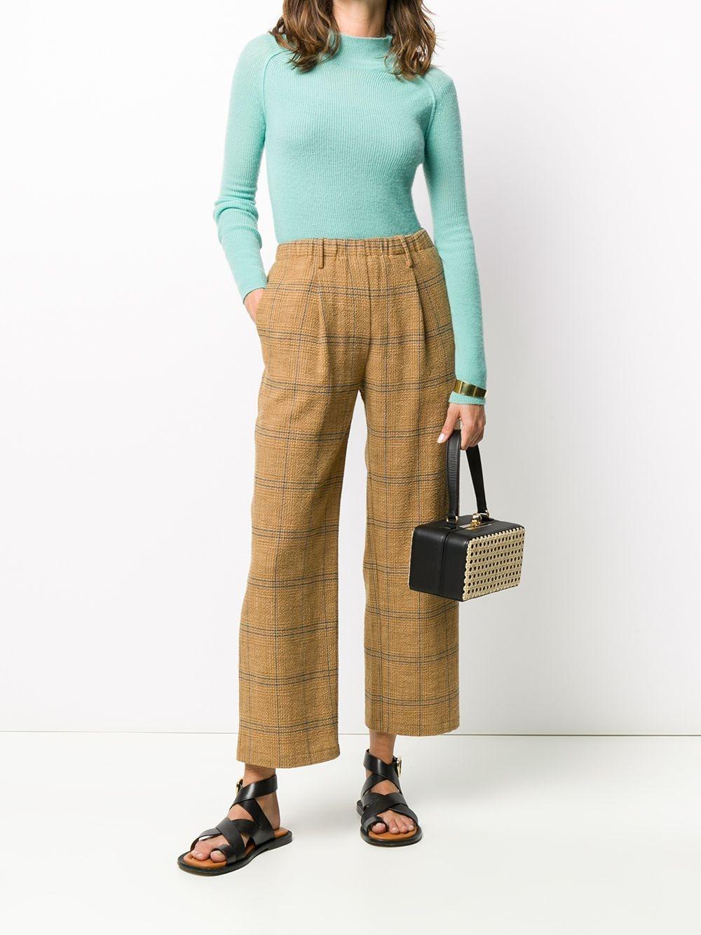 Pantaloni marroni in misto lana-cotone con motivo check FORTE_FORTE |  | 7511OTTANIO
