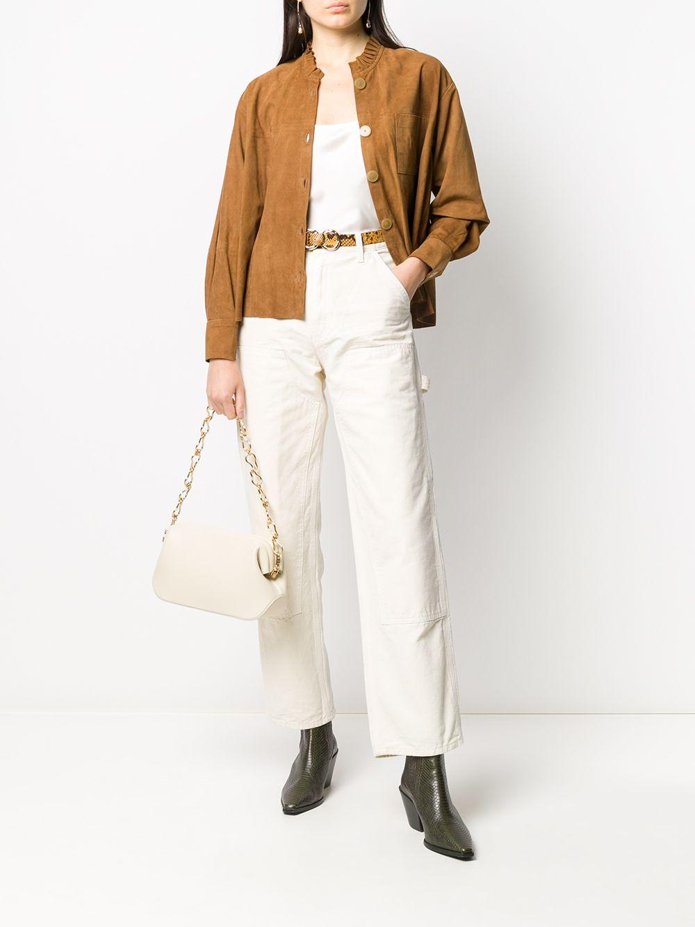 Camicia in pelle scamosciata color cammello con volant e dettagli arricciati FORTE_FORTE   Camicie   7514CARAMELLO