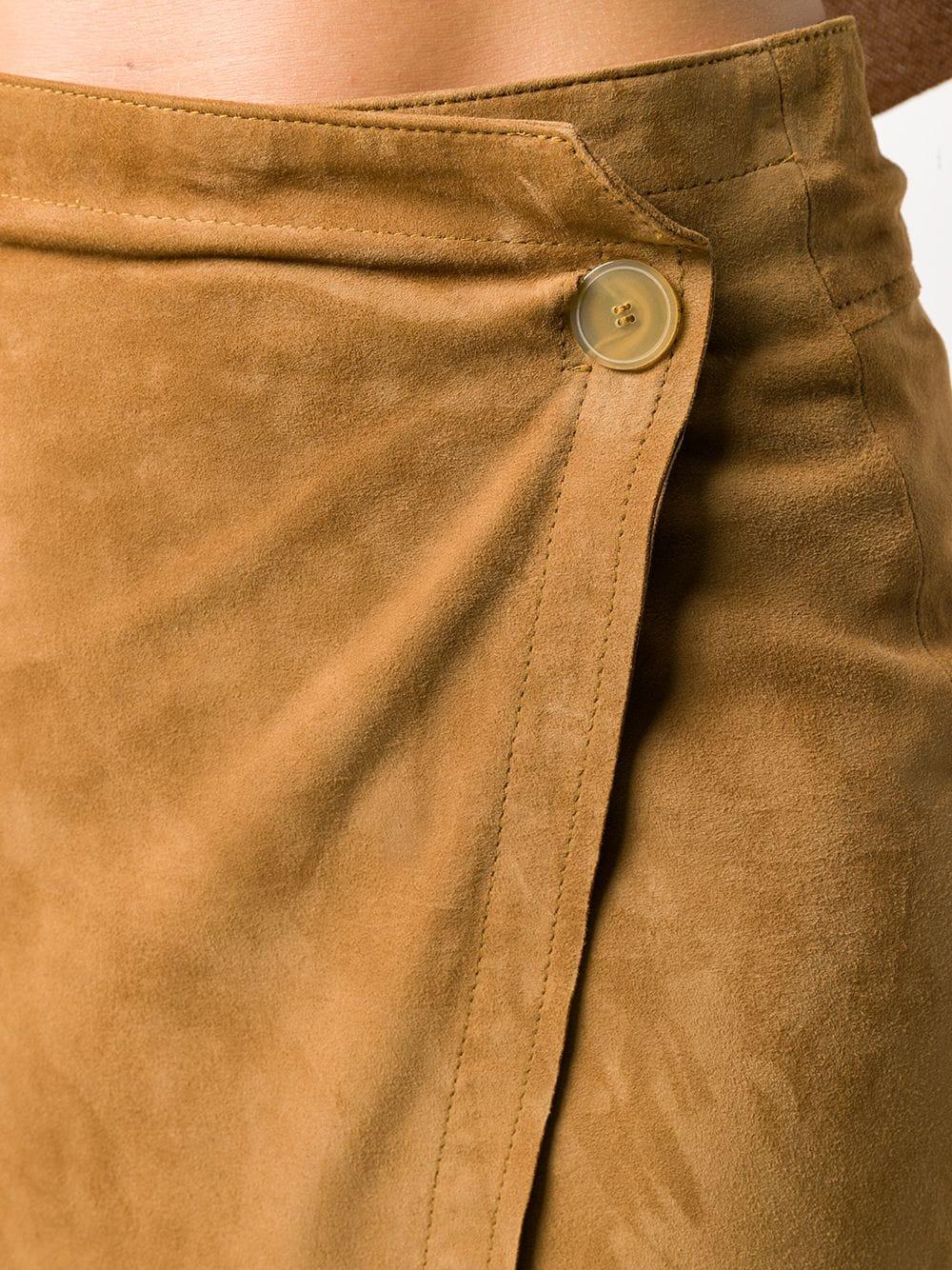 Gonna a tubino slim in camoscio marrone FORTE_FORTE   Gonne   7516CARAMELLO