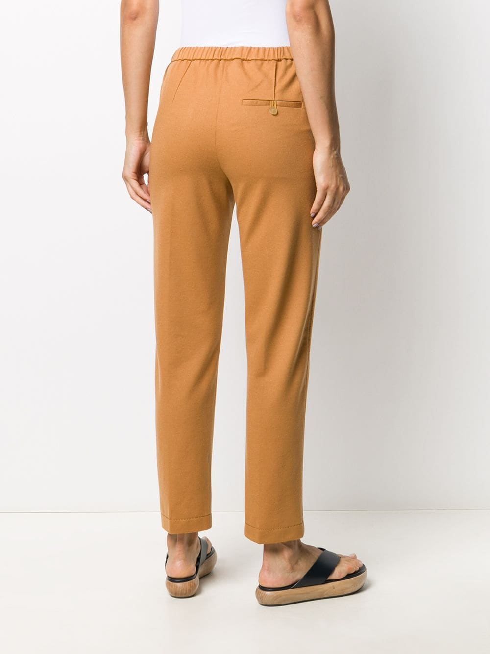Caramel brown virgin wool/cupro elastic-waist pull-on trousers FORTE_FORTE |  | 7518CAMMELLO