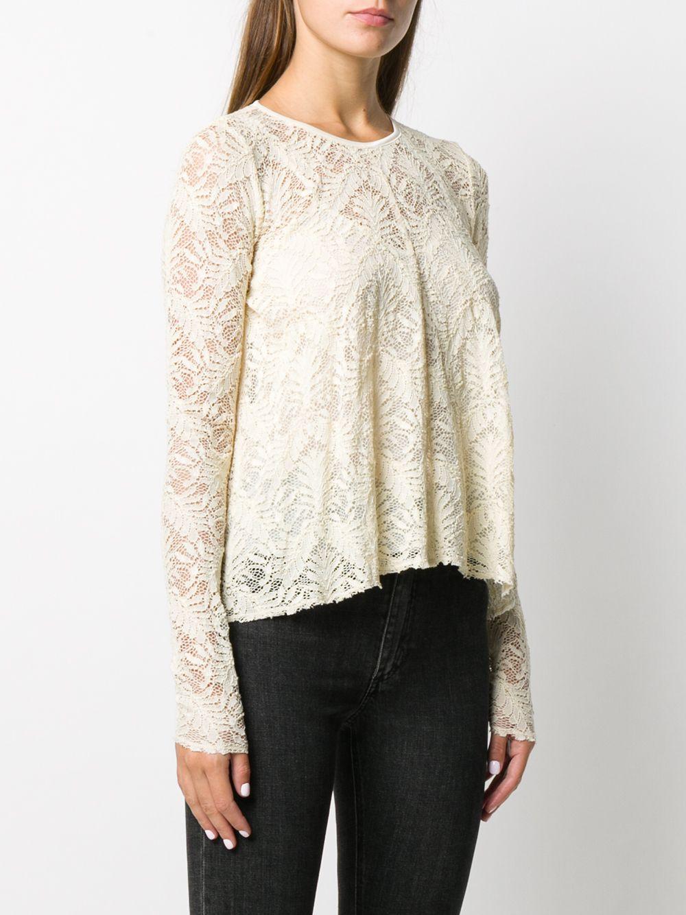 blusa in cotone beige con dettagli floreali in pizzo FORTE_FORTE | Camicie | 7566BURRO