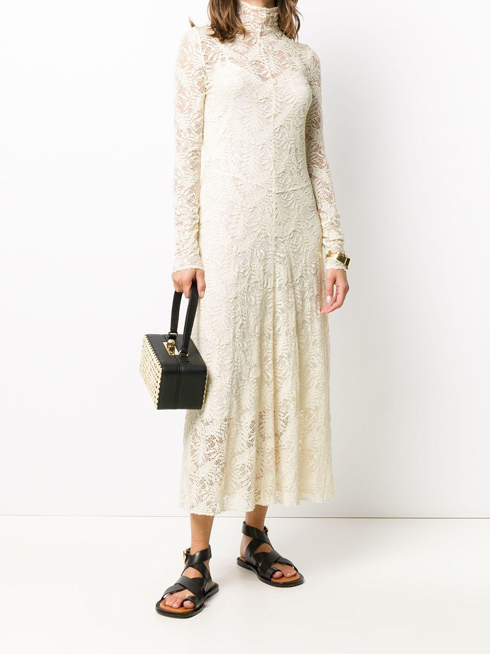 abito in cotone di media lunghezza color avorio con collo alto FORTE_FORTE | Abiti | 7568BURRO