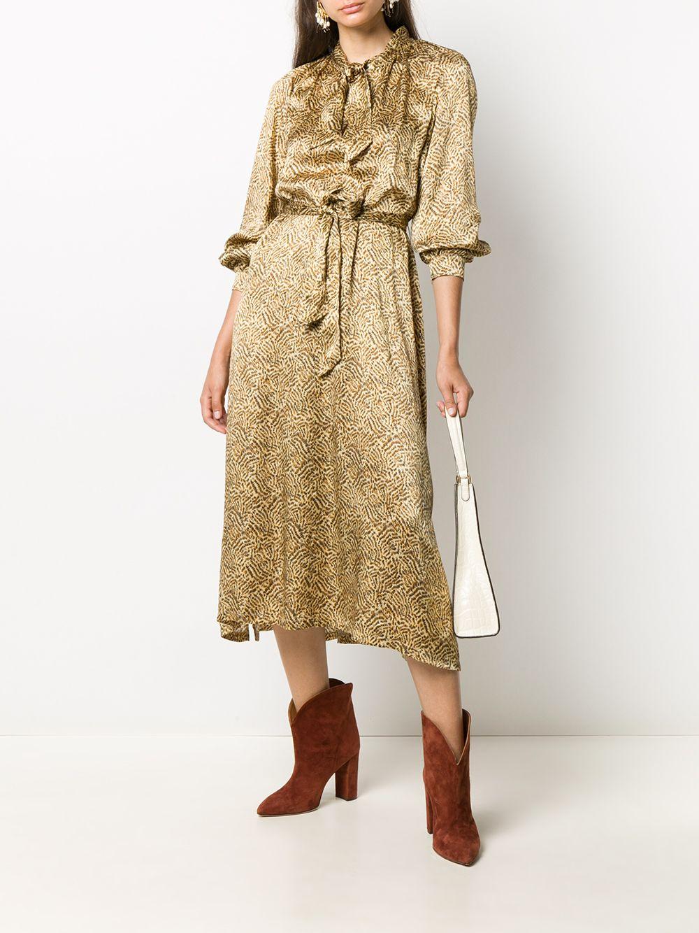 yellow multicolored silk abstract print midi dress   FORTE_FORTE |  | 7598ORO