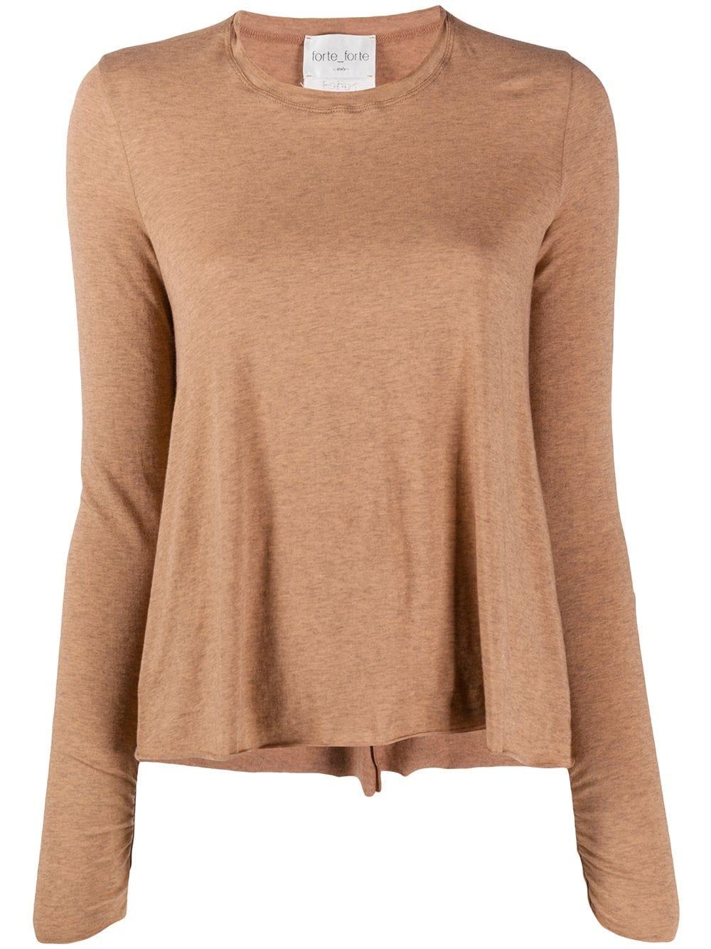 T-shirt a maniche lunghe con bordo arrotolato in misto cotone e cashmere marrone cannella FORTE_FORTE | Maglieria | 7609CANNELLA