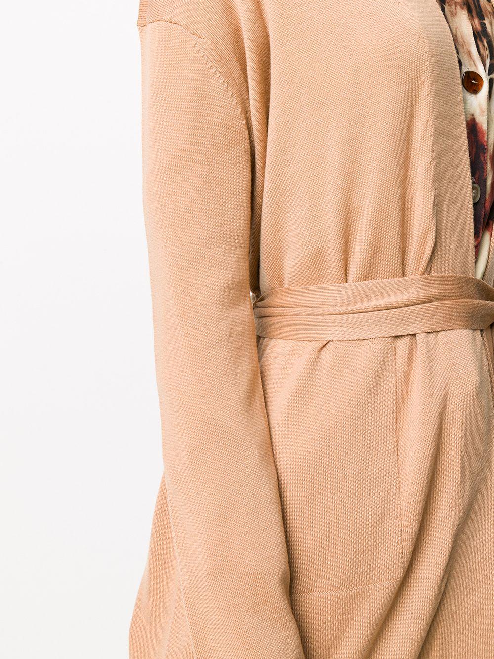 Cardigan lungo beige 100% lana con revers a scialle FORTE_FORTE | Maglieria | 7615CAMMELLO