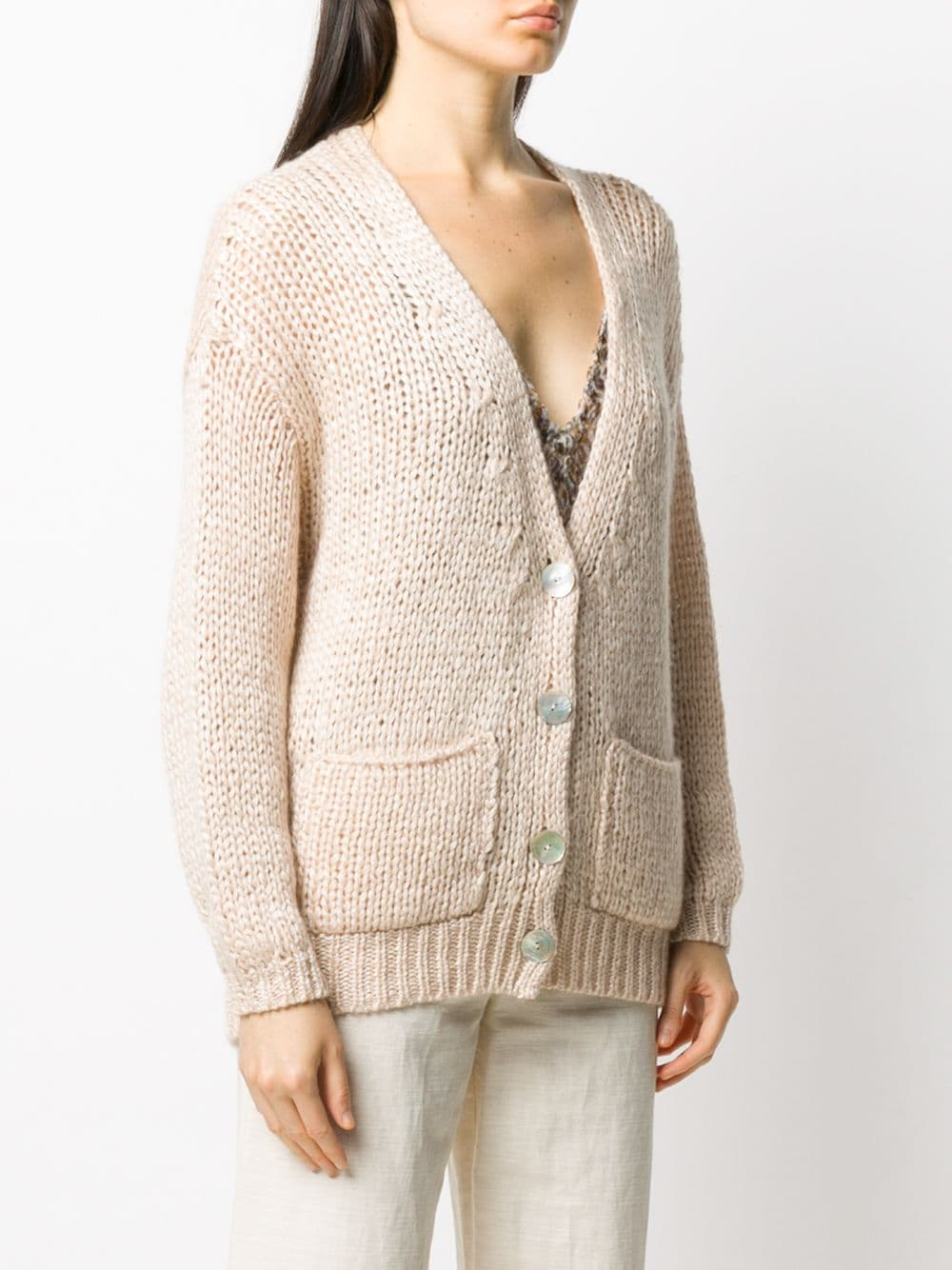 Light beige silk-mohair-cashmere blend chunky knit  cardigan FORTE_FORTE |  | 7635AVORIO