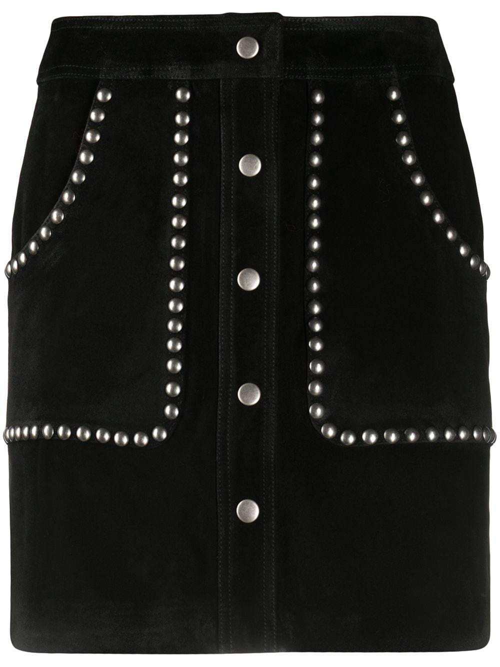 Black bovine leather studded A-line mini skirt  GOLDEN GOOSE |  | GWP00187-P00015490100