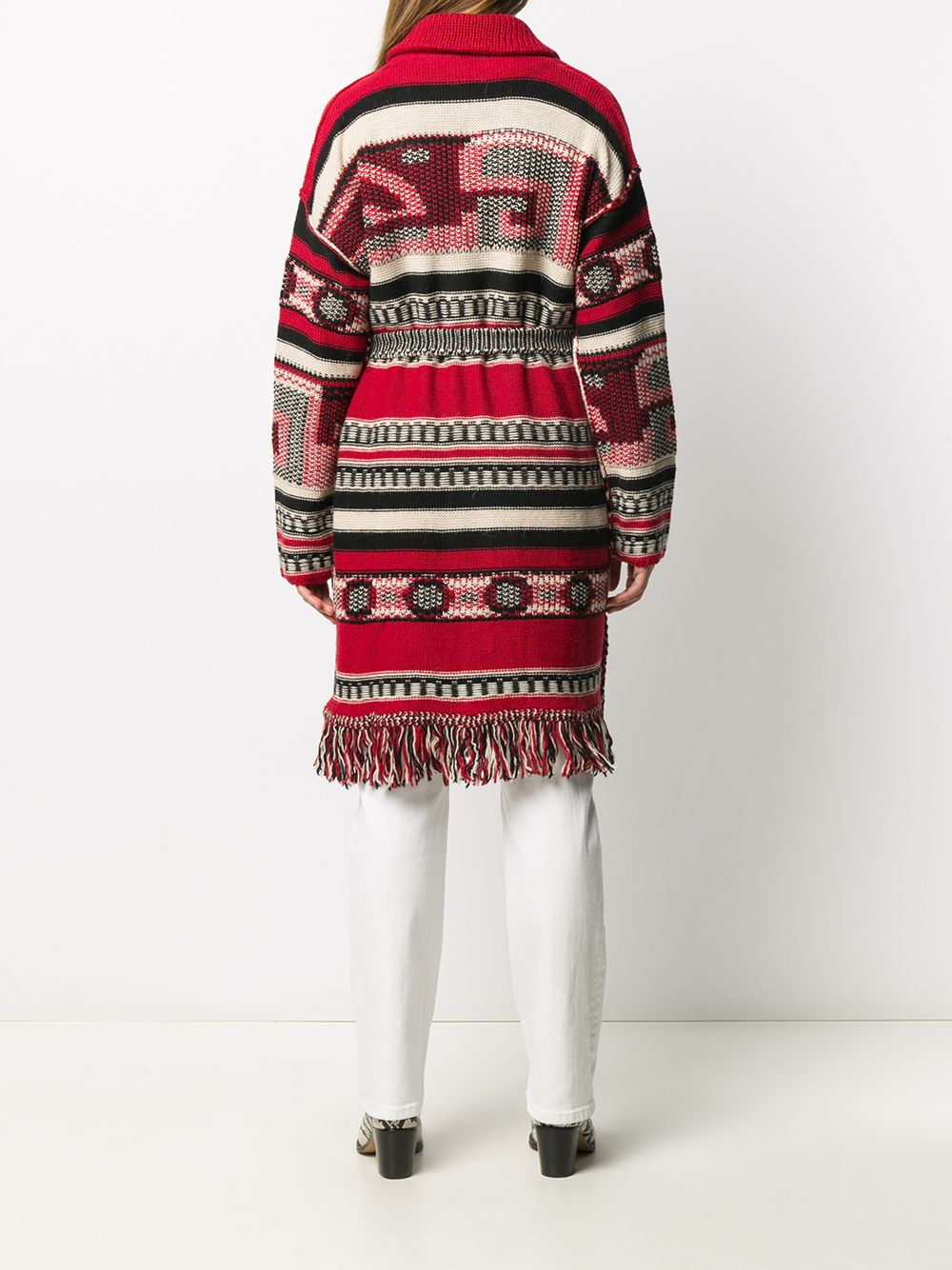 long wool fringed red multicolor cardigan with hips belt  GGDB |  | GWP00238-P00022080461