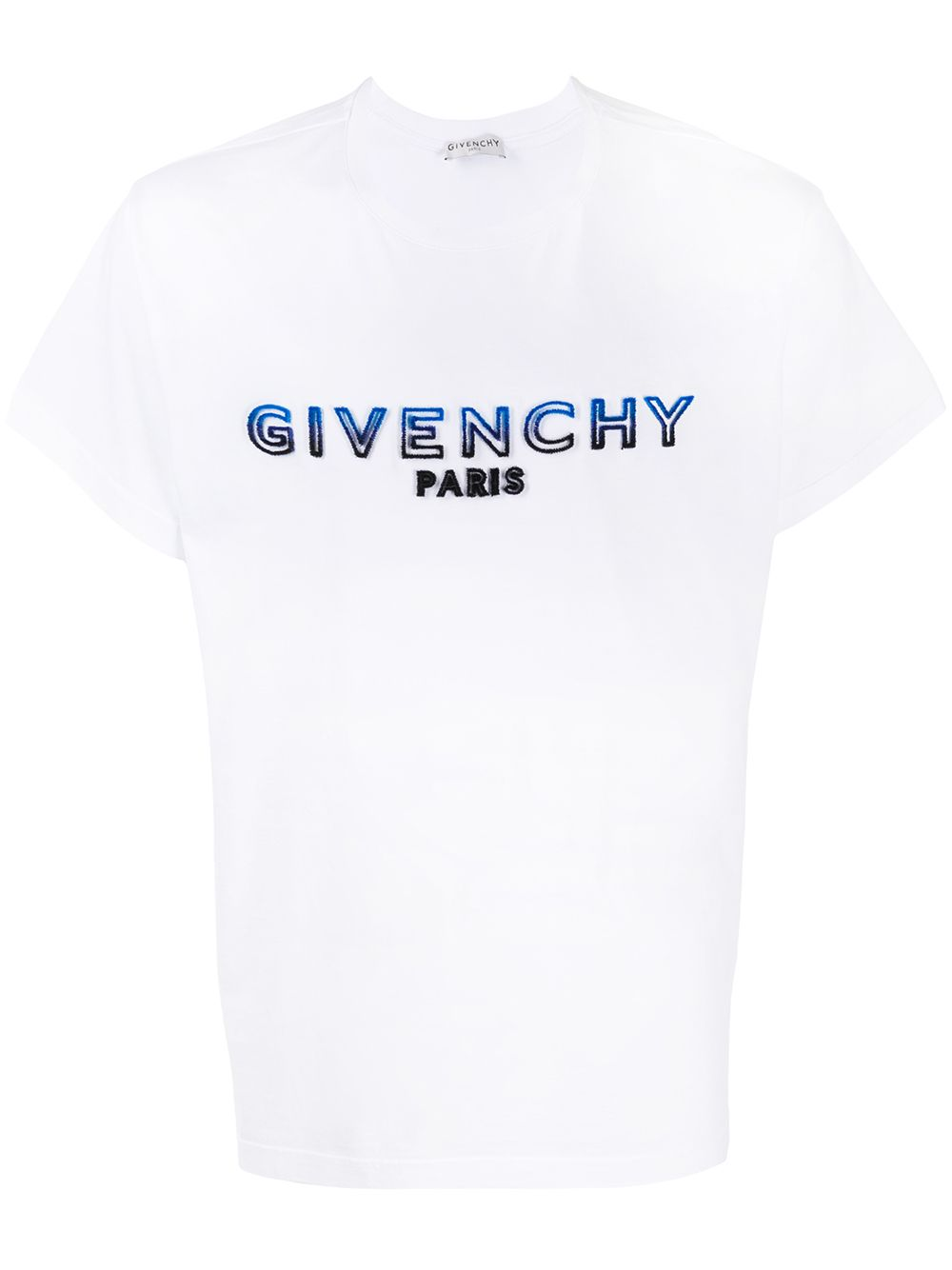 T-shirt con logo floccato bicolore blu/nero Givenchy in cotone bianco GIVENCHY | T-shirt | BM70UY3002114
