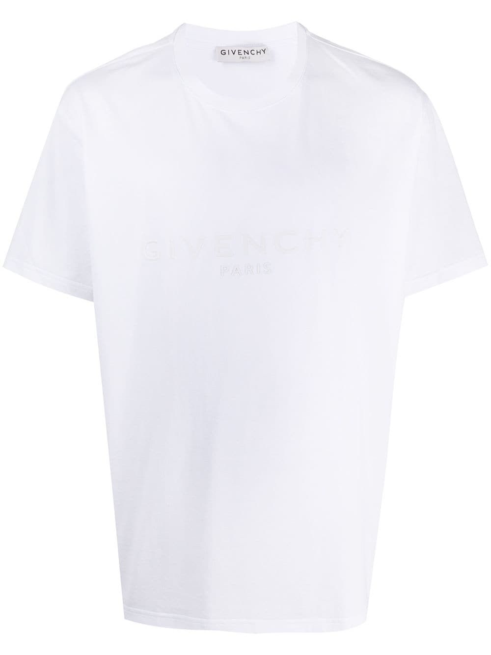 white cotton embroidered Givenchy logo t-shirt featuring tonal stitching GIVENCHY      BM70YN3002100
