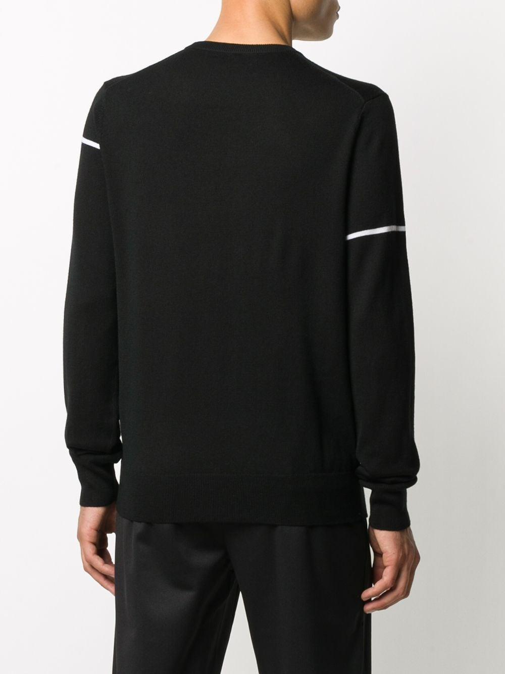 maglione con logo Givenchy ricamato in lana bianca e nera GIVENCHY | Maglieria Moda | BM90B4404X004