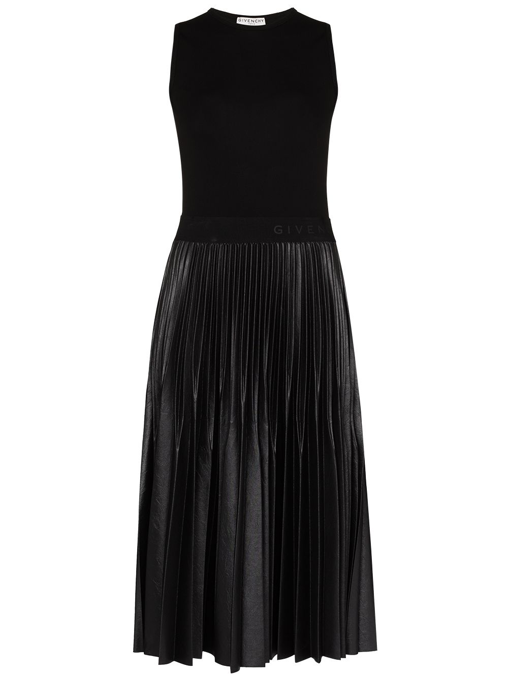black cotton-blend pleated midi dress  GIVENCHY |  | BW20PM3Z26001