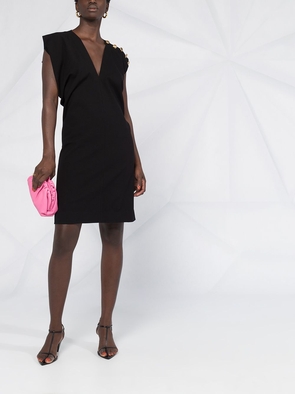 black V-neck dress featuring gold decorative button detailing on the shoulder GIVENCHY |  | BW20YM30J6001