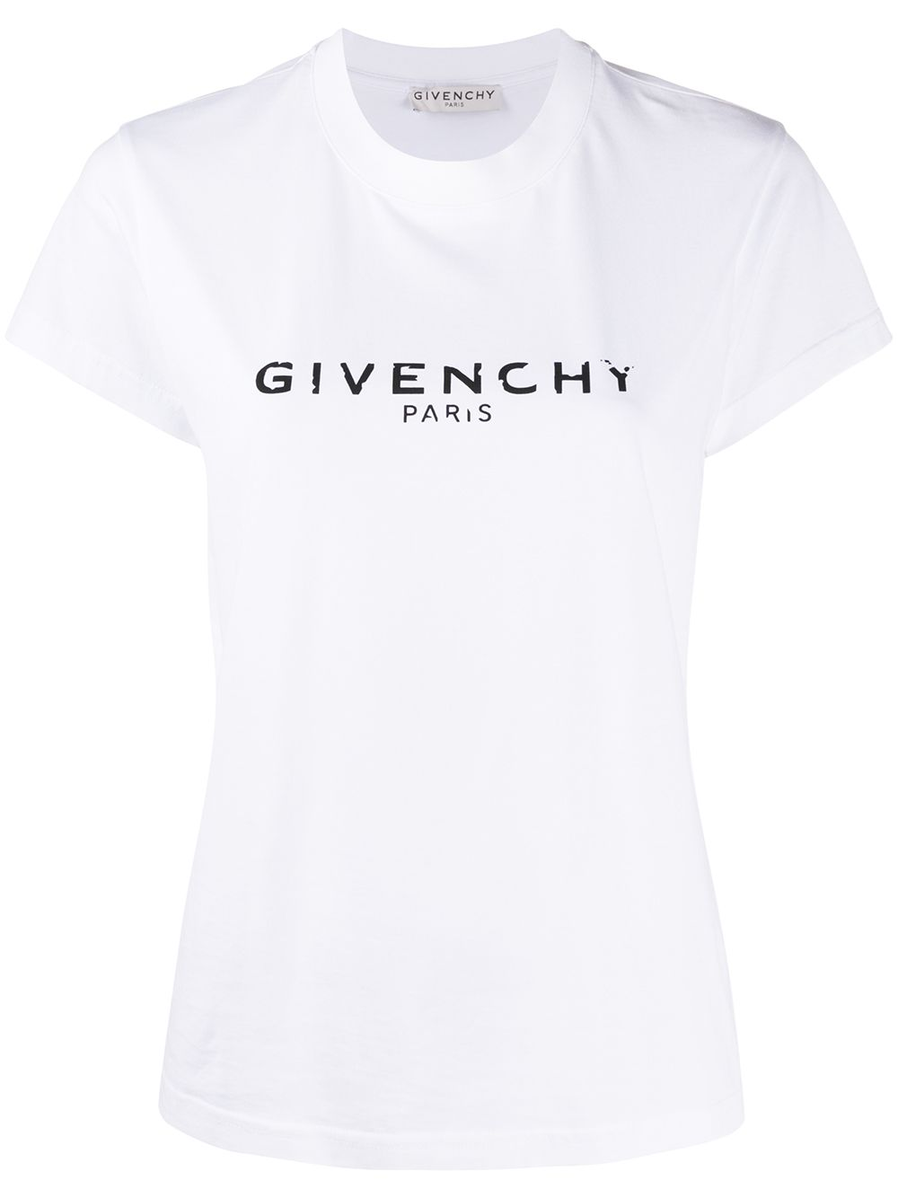 white cotton antique-effect Givenchy logo print T-shirt  GIVENCHY      BW708H3Z0Y100