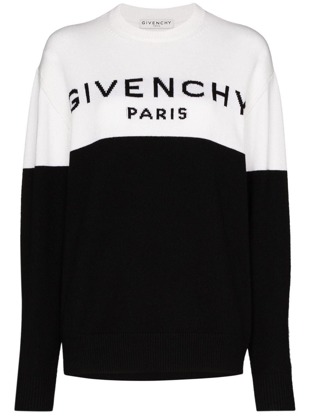 maglione con logo Givenchy bicolore in cashmere bianco e nero GIVENCHY      BW90AE4Z7H004