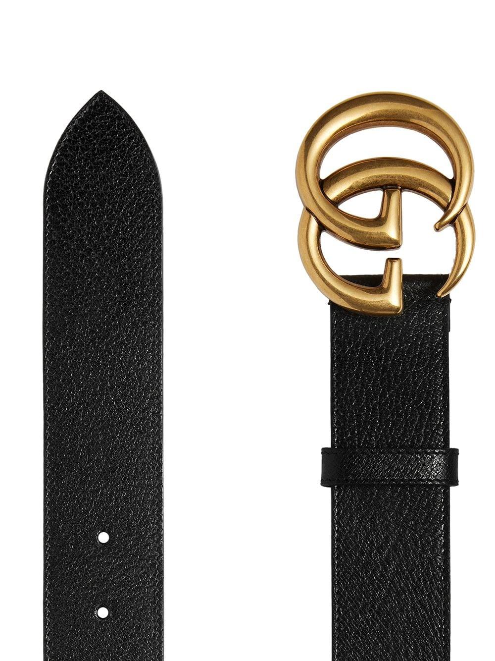 cintura in pelle di vitello nera da 4 cm con fibbia doppia G. GUCCI | Cinture | 406831-DJ20T1000