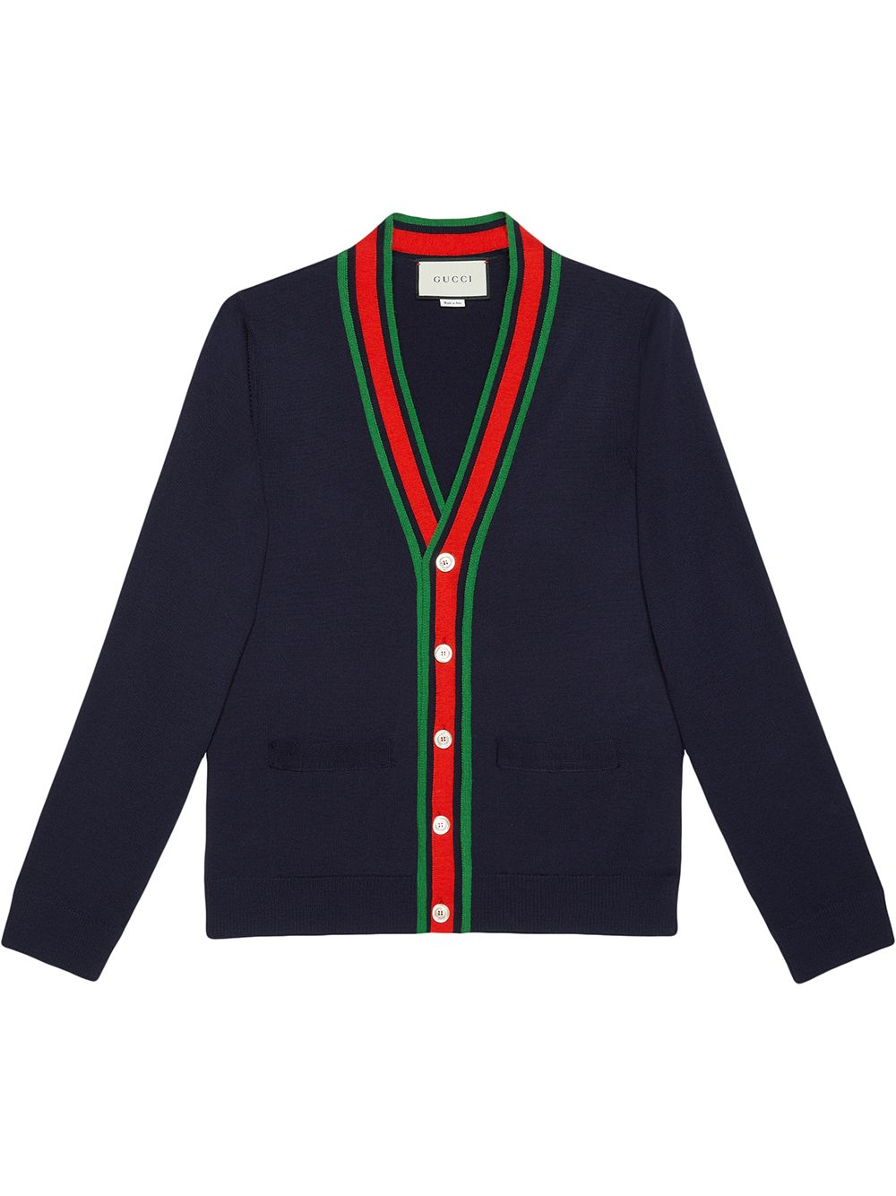 dark blue knit wool cardigan features a green, blue and red Gucci Web trim  GUCCI |  | 576806-XKAUL4548
