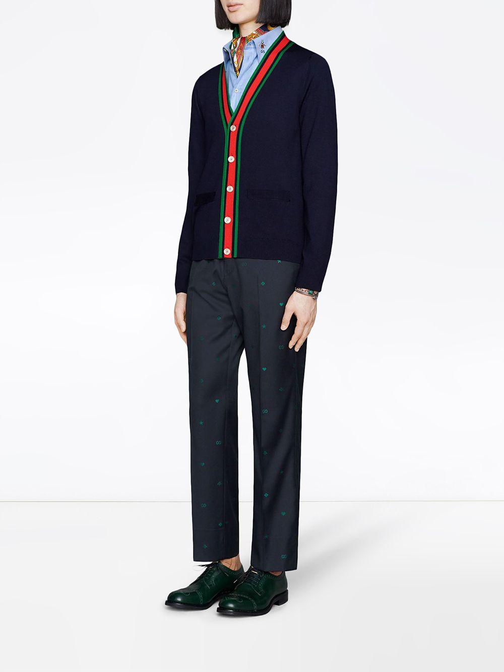 cardigan in lana lavorata a maglia blu scuro con bordino Gucci Web centrale GUCCI | Cardigan | 576806-XKAUL4548