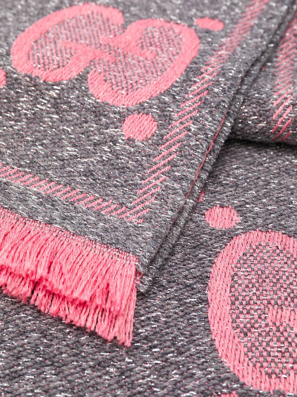 fringed bi-color pink and grey wool and lurex maxi logo Gucci scarf GUCCI |  | 598993-3GC151272