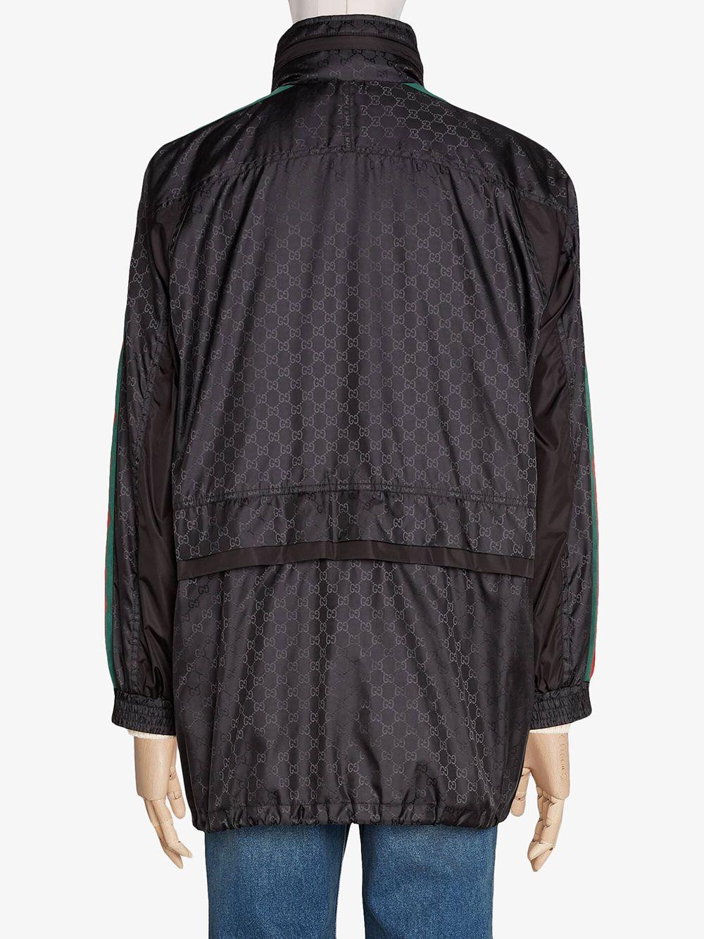 parka nero lungo in nylon con banda Gucci web sulle maniche e cappuccio GUCCI   Cappotti   618891-ZAENY1000