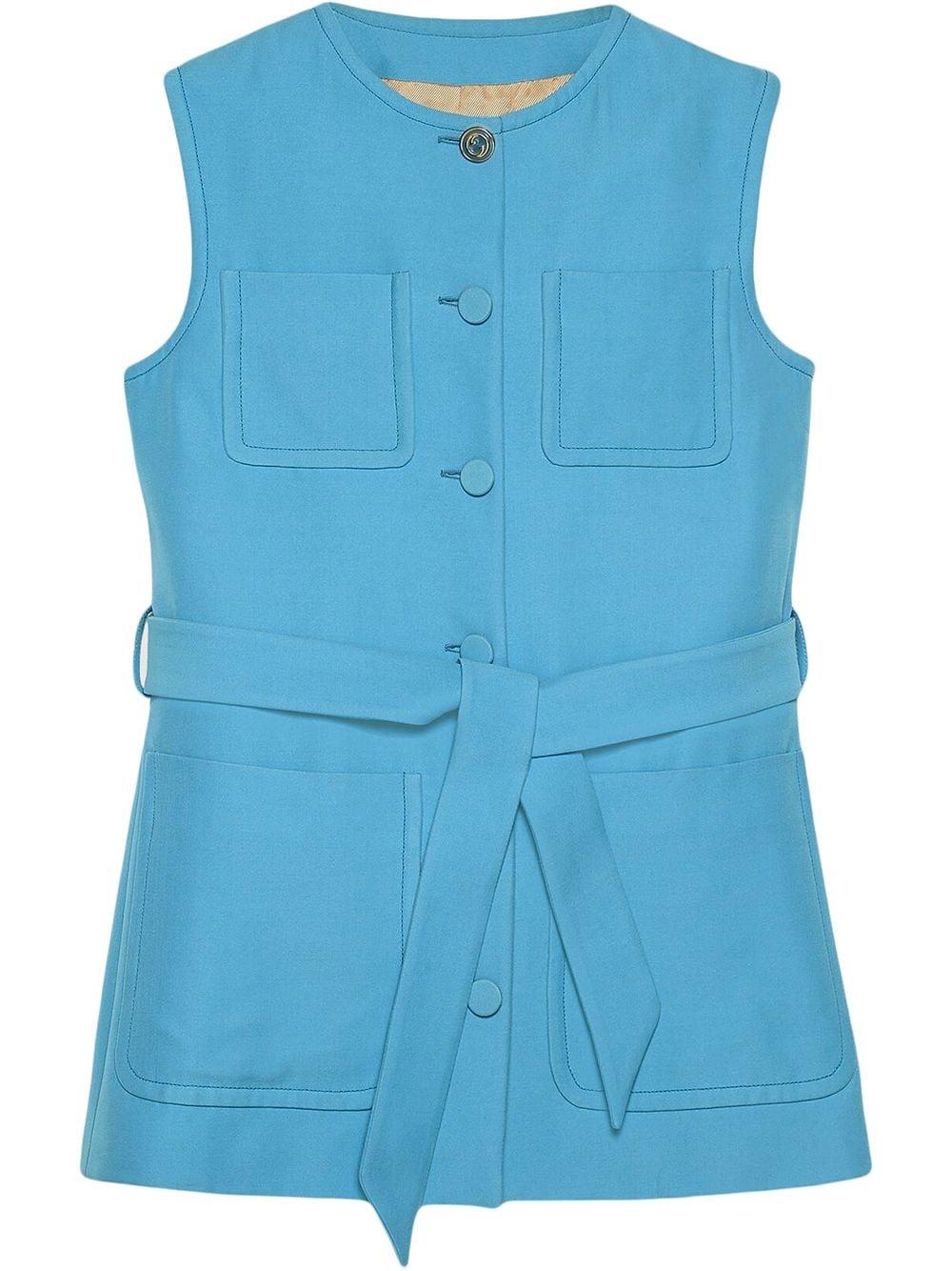 Sky-blue silk-wool blend patch-pocket sleveless vest  GUCCI |  | 619334-ZAD884300