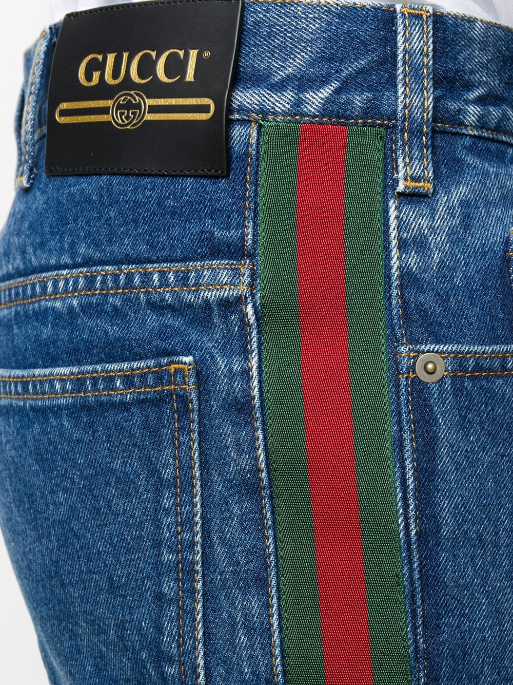 blue cotton Sylvie bootcut jeans featuring Gucci Web detail GUCCI |  | 623954-XDA9B4447