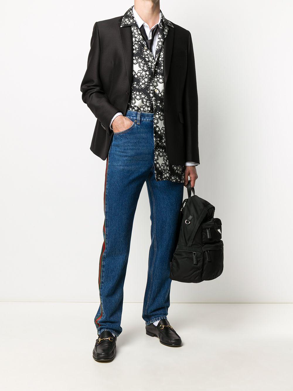 jeans bootcut Sylvie in cotone blu con dettaglio Gucci Web GUCCI | Pantaloni | 623954-XDA9B4447