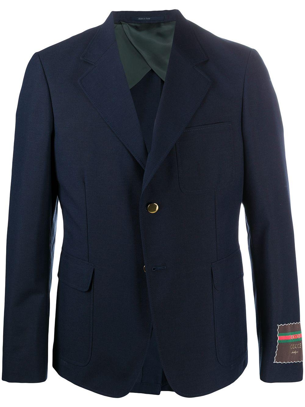 Blazer monopetto con etichetta Gucci sul gomito in misto lana mohair e cotone blu Caspio GUCCI | Giacche | 624472-ZAC3K4240