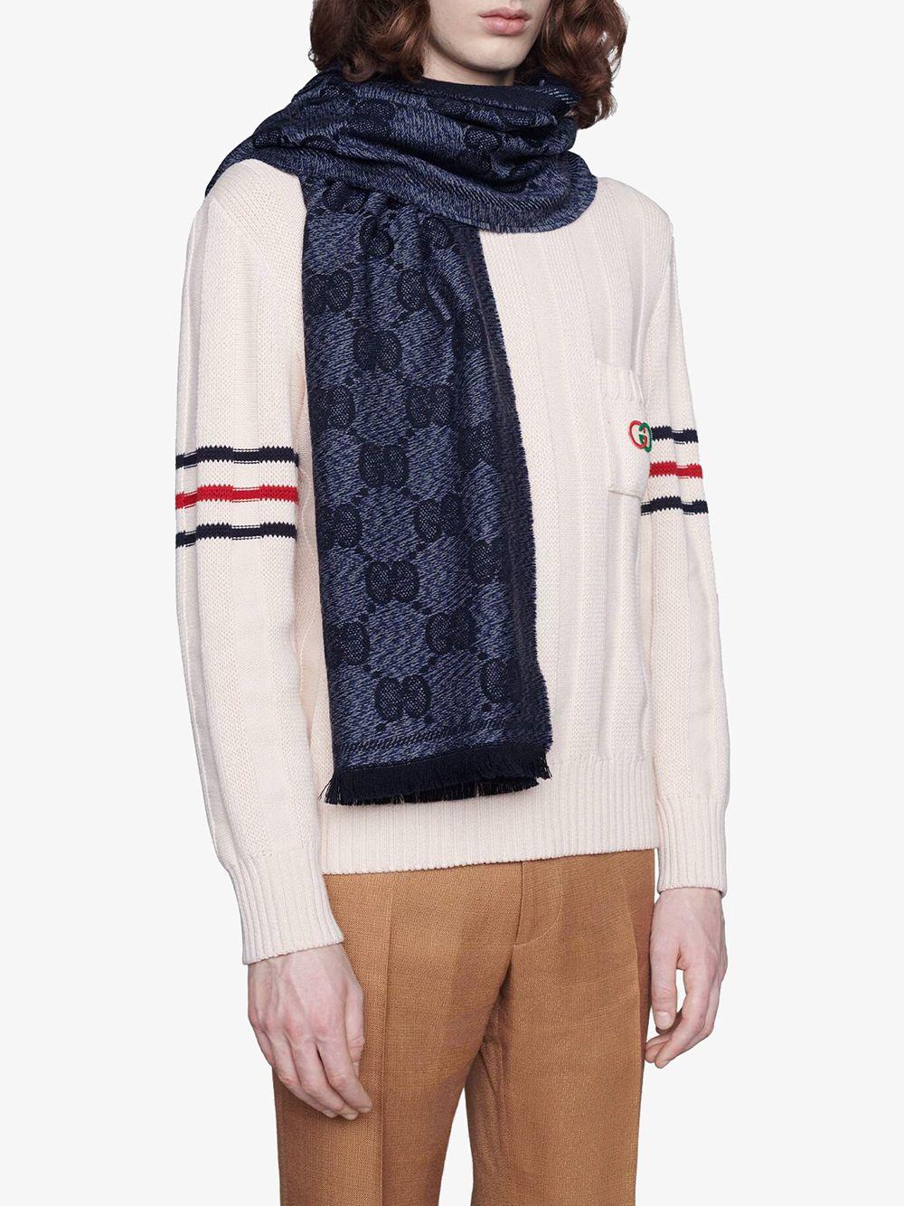 blue 100% wool Gucci Supreme pattern jacquard scarf  GUCCI      625898-4G0594068