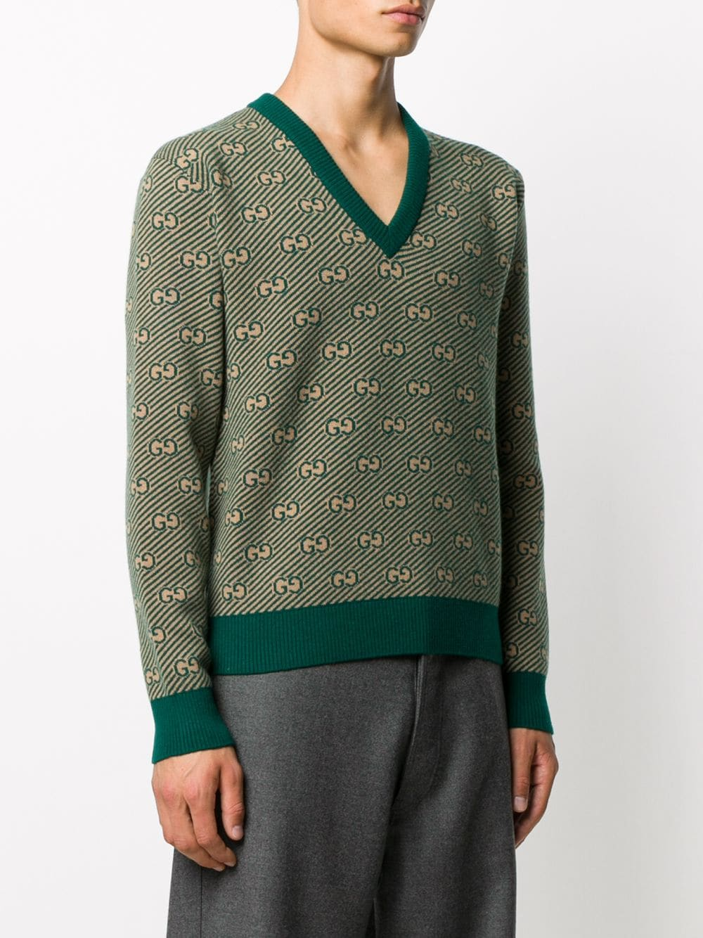 green jacquard wool sweater with Gucci print all over GUCCI |  | 626643-XKBFZ3119