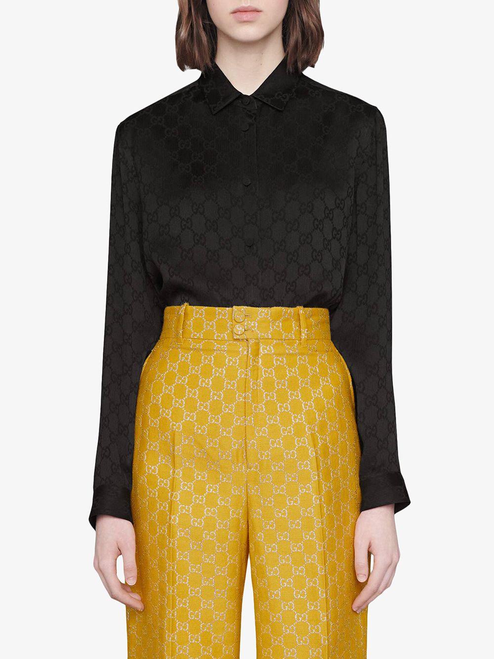 black silk shirt with Gucci Supreme print all over GUCCI      627773-ZAEJF1000