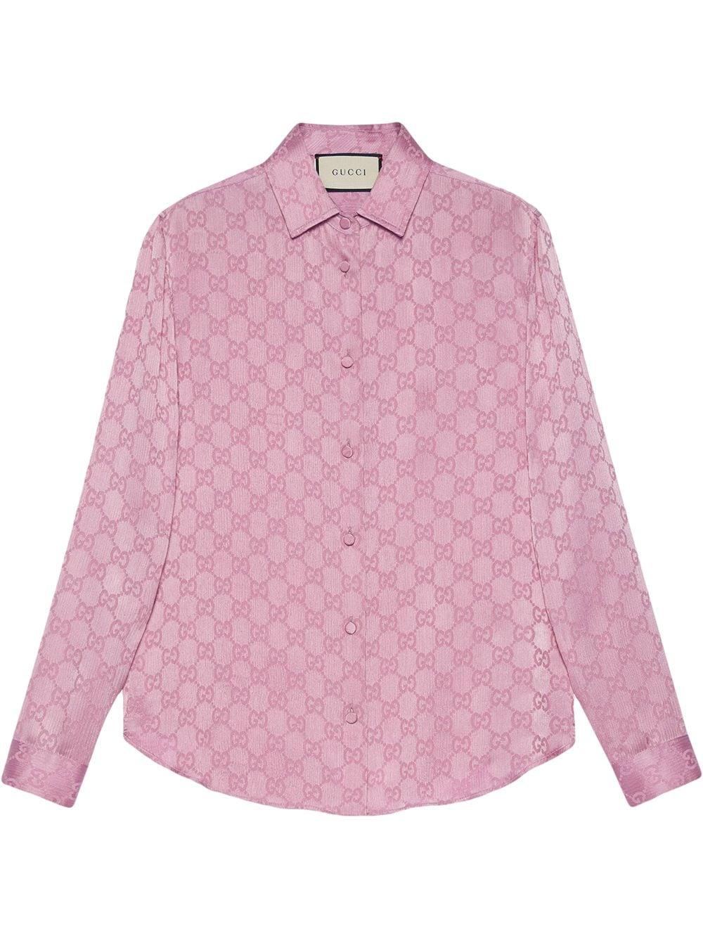 camicia di seta rosa con stampa Gucci Supreme all over GUCCI | Camicie | 627773-ZAEJF5128