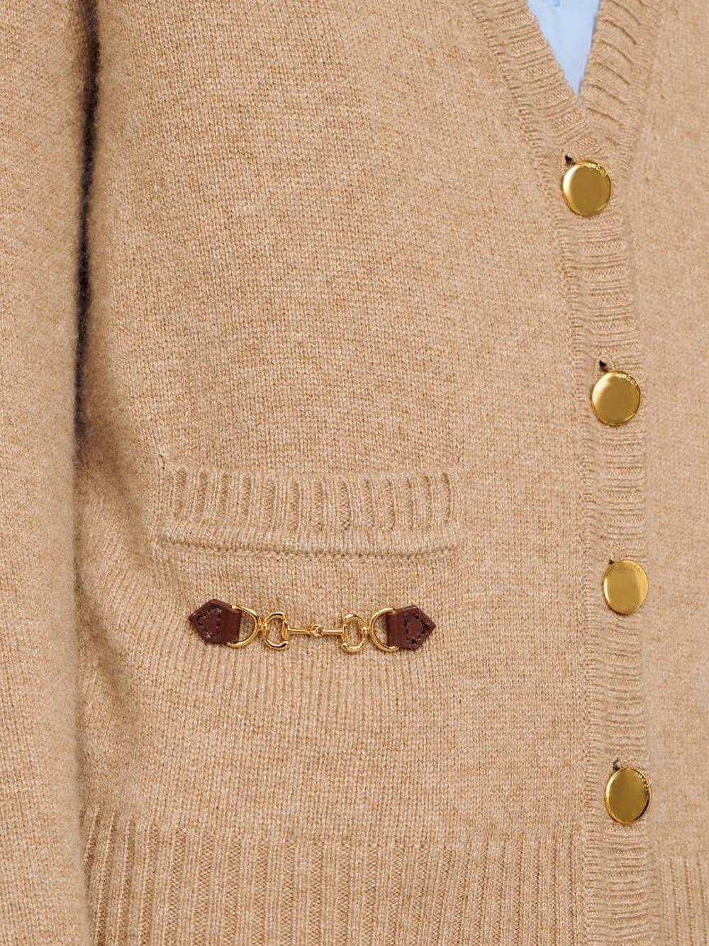 cardigan in cashmere beige con dettaglio Gucci Horsebit con finiture in pelle GUCCI | Cardigan | 628412-XKBH92184